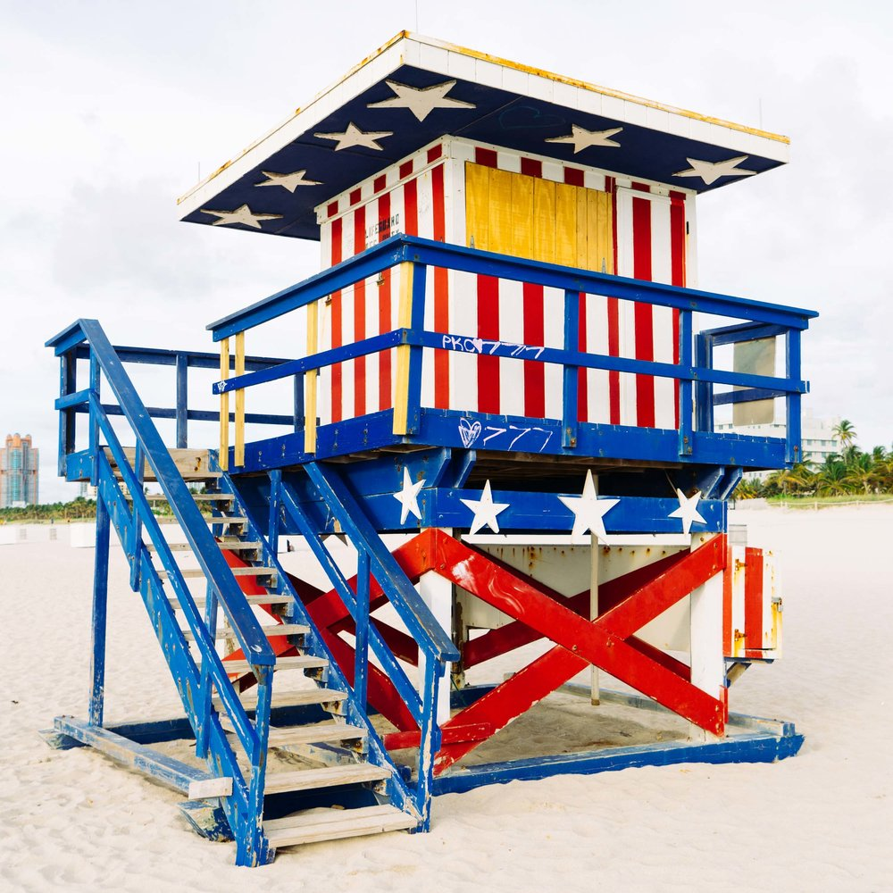 The patriotic stars and stripes lifeguard stand at 13th Street