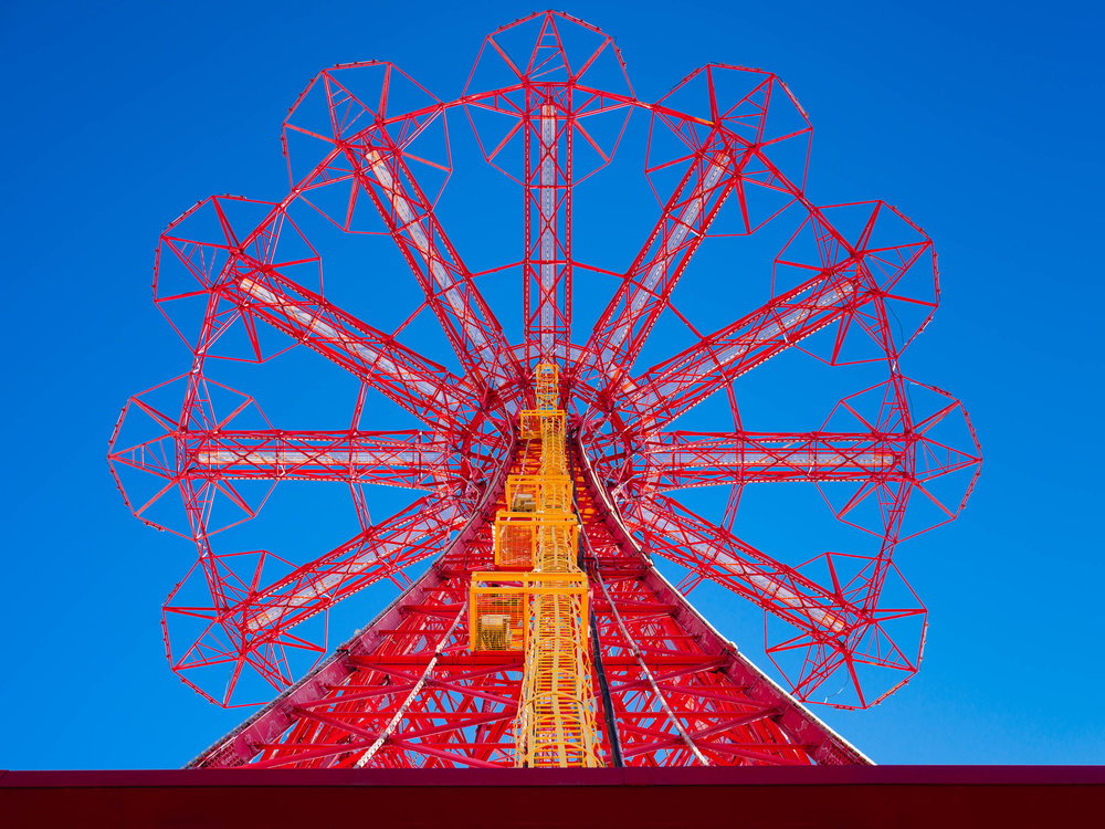 Coney Island parachute jump from below