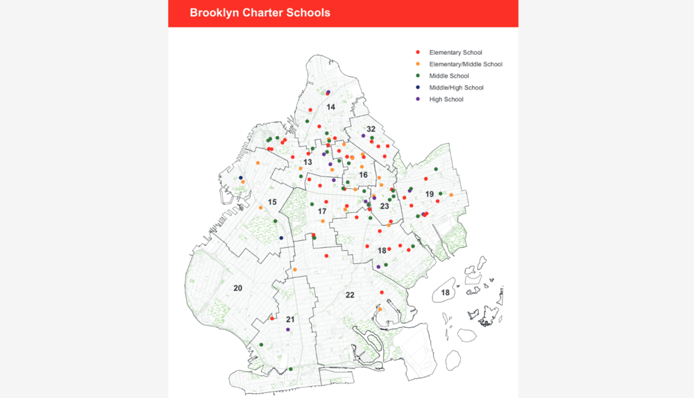 map of Brooklyn Charter Schools