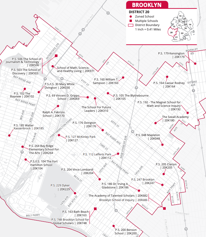 Brooklyn District 20 Map of Elementary Schools