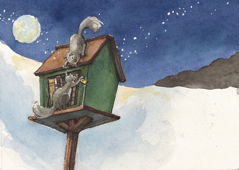 Twas the night before Christmas by the little book house.  All the creatures were listening.  Even a mouse.