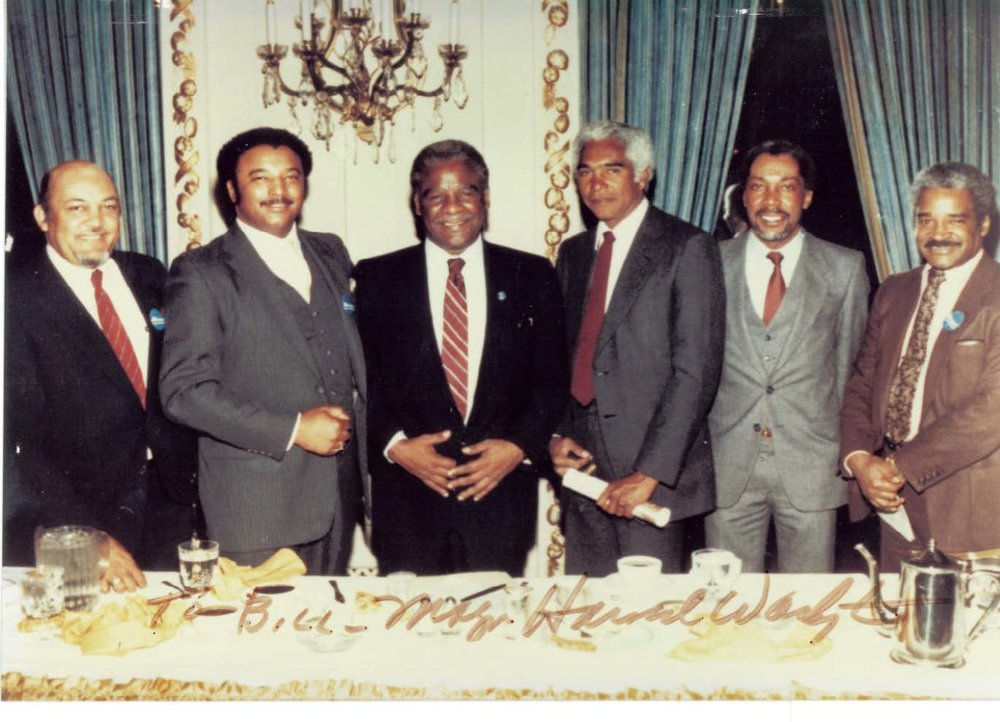[Left to Right] Ken Groggs, Bill Brazely, Harold Washington, John Moutoussamy, Andrew Heard, Wendell Campbell, n.d.
