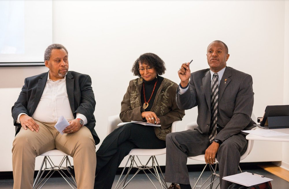 2019 - [Left to Right] Erroll O'Neil, Ameera Ashraf-O'Neil, Michael Rodgers - Legacy Panel Event at SOM