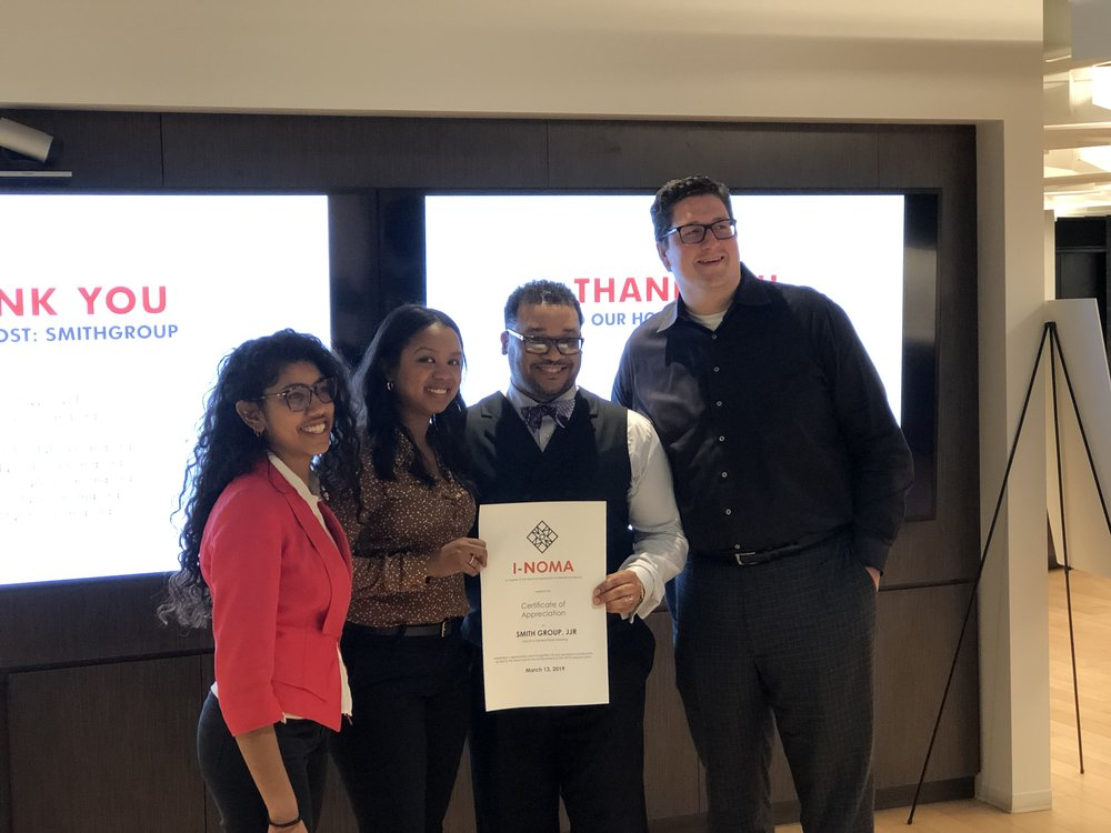 President Smitha Vasan & Vice President Jennifer Johnson gifting the Certificate of Appreciation to Taft Cleveland & Matthew Dumich of Smith Group