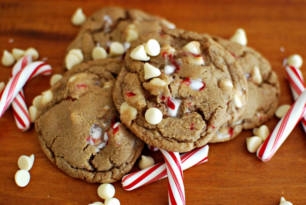 White Chocolate Peppermint Cookies sprinkled with vanilla salt