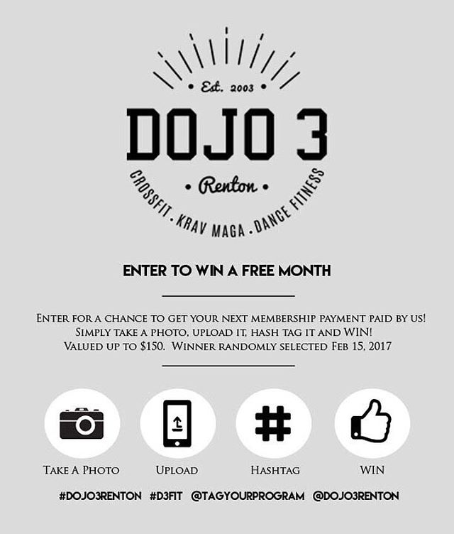 🎉 Dojo 3 Social Media Contest 🎉 WIN your next membership payment FREE! Just take a photo before, during or after your workout, upload it, hashtag: #Dojo3Renton #D3Fit @dojo3renton and your Program and win. Contest ends Feb 15th. More post ='s more chances to win. Winner selected randomly Feb 15th.