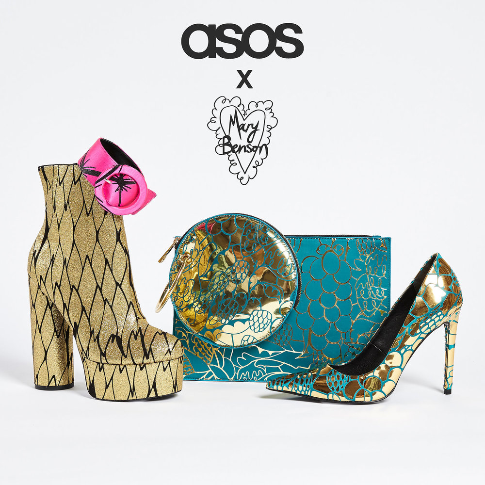 - ASOS x Mary Benson shoes & accessories collaboration featuring our signature vinyl prints and colour scheme to party-ready accessories, from platform boots to buckled cuffs.See VOGUE write up here.