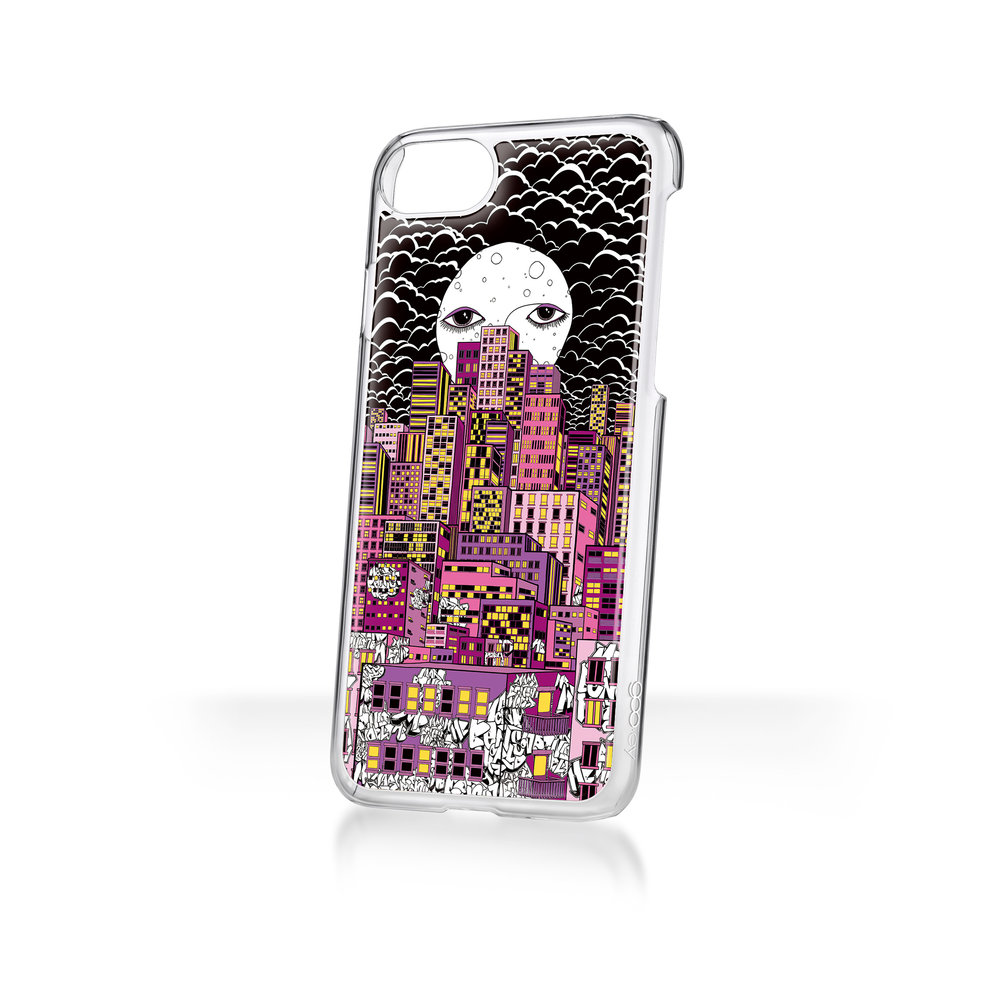 Mary Benson x goo.ey - Apple iPhone X CaseMoon City Scape - Purple