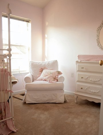Her pink nursery. In my ninth month, I would vacuum in here every day!