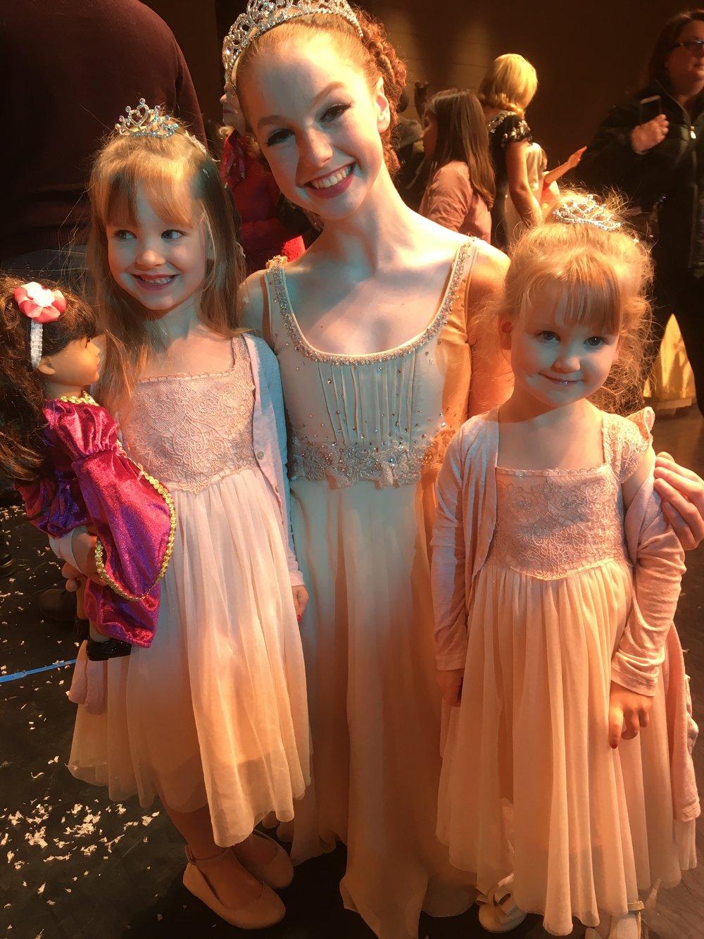 Girls' date to the Nutcracker Ballet, in 2017.