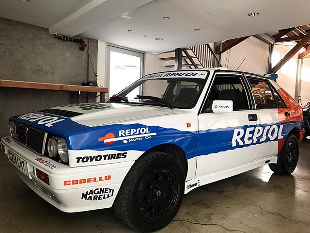 Repsol Delta Integrale HF in the works #lancia#summer#italian#dellastrada#deltaintegrale#hf#rally#awd#turbo#groupa#vinylwrap#giulia#gtv#periodcorrect#design#losangeles#california#alitalia#italia#garrettturbo#carello#fifteen52#toyotires#rollers#weekend#dellastrada