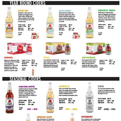 All Package Sales Sheet   (double-sided)- Tivoli   Includes all flagship year-round ciders: Front - 12oz bottles +  cans  Back - 22oz bottles +  draft