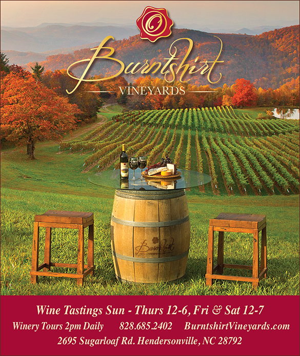 Print ad for Burnstshirt Vineyards. Photo of a beautiful mountains, wine and cheese. Ad designed by Neff Creative, a Marketing and Graphic Design firm in Asheville NC.