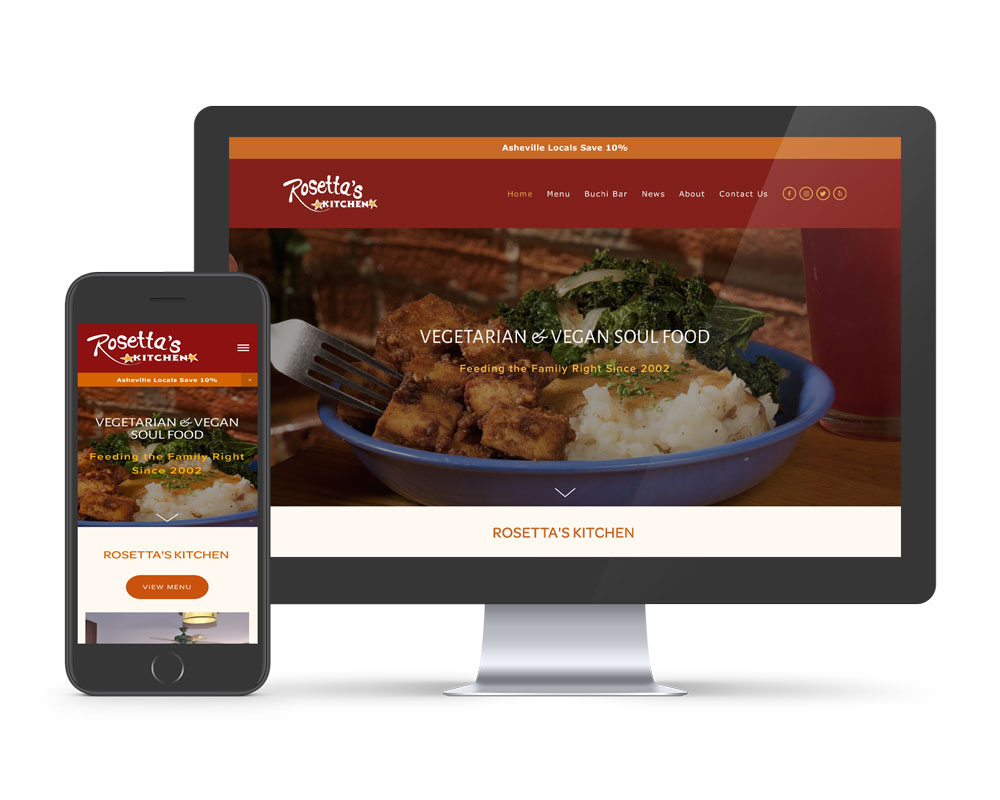 Find Squarespace Website Developers in Asheville NC - Showing Rosetta's Website Design with mobile phone