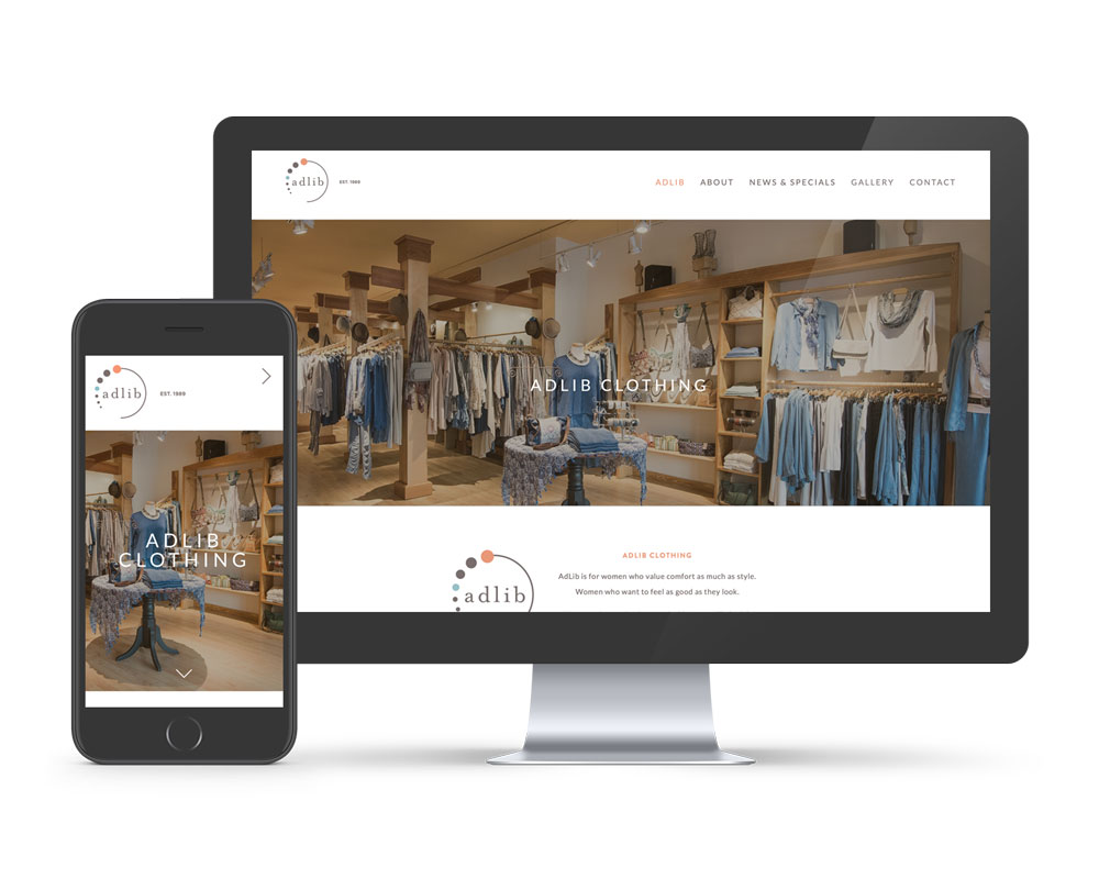 Adlib Clothing Squarespace website shown with mobile website displayed. Using Squarespace platform to design websites in Asheville NC.