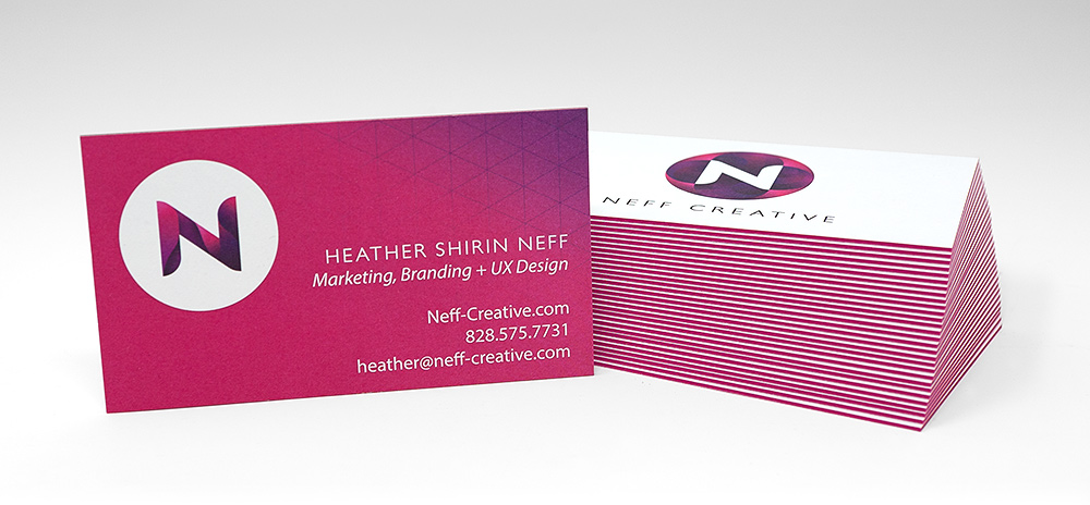 Logo design Asheville NC - Business Cards for Neff Creative Shown