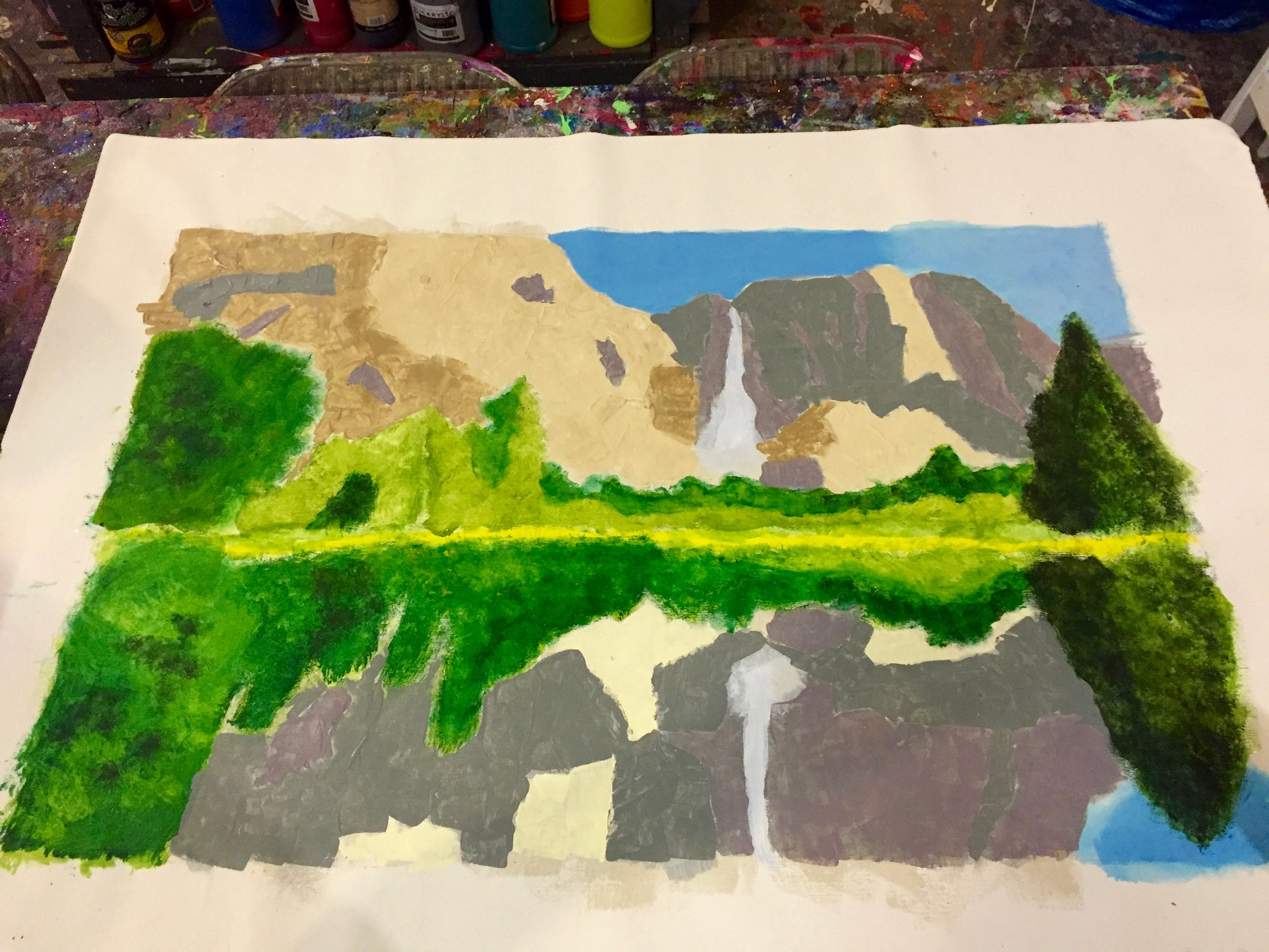First layer of colors on the trees