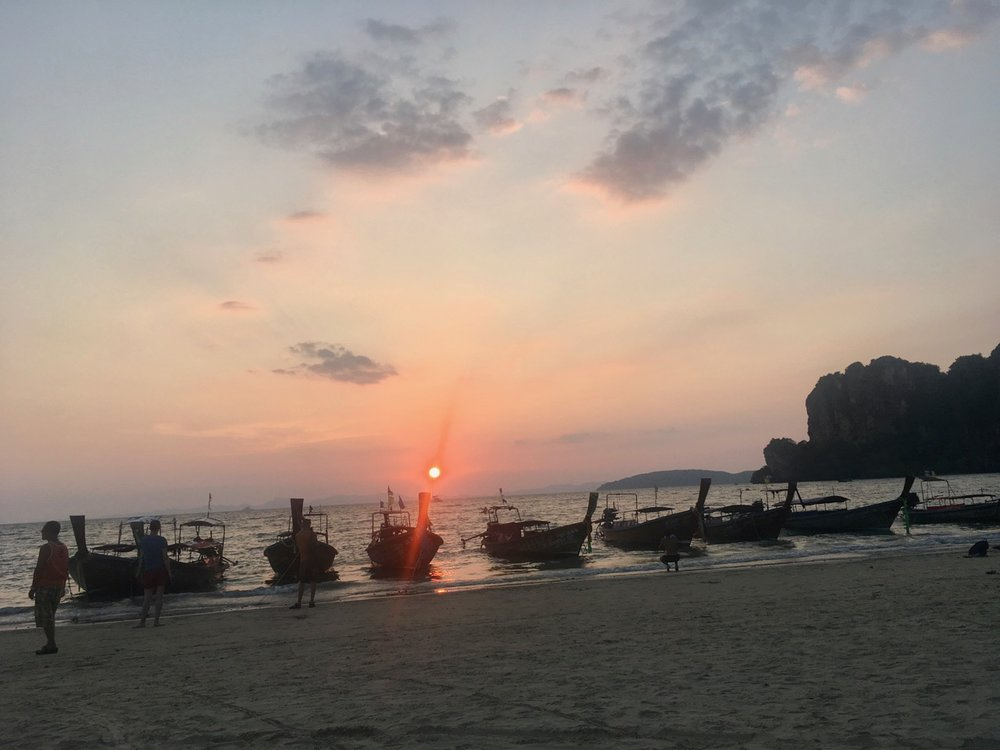 Sunset on my 33rd birthday on Railay Beach, Thailand