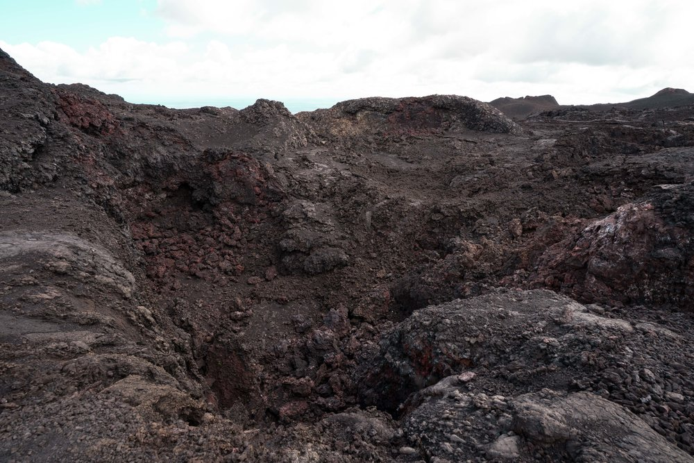 This is a walk through a lava field with layers both thousands of years old and as new as the late 70s