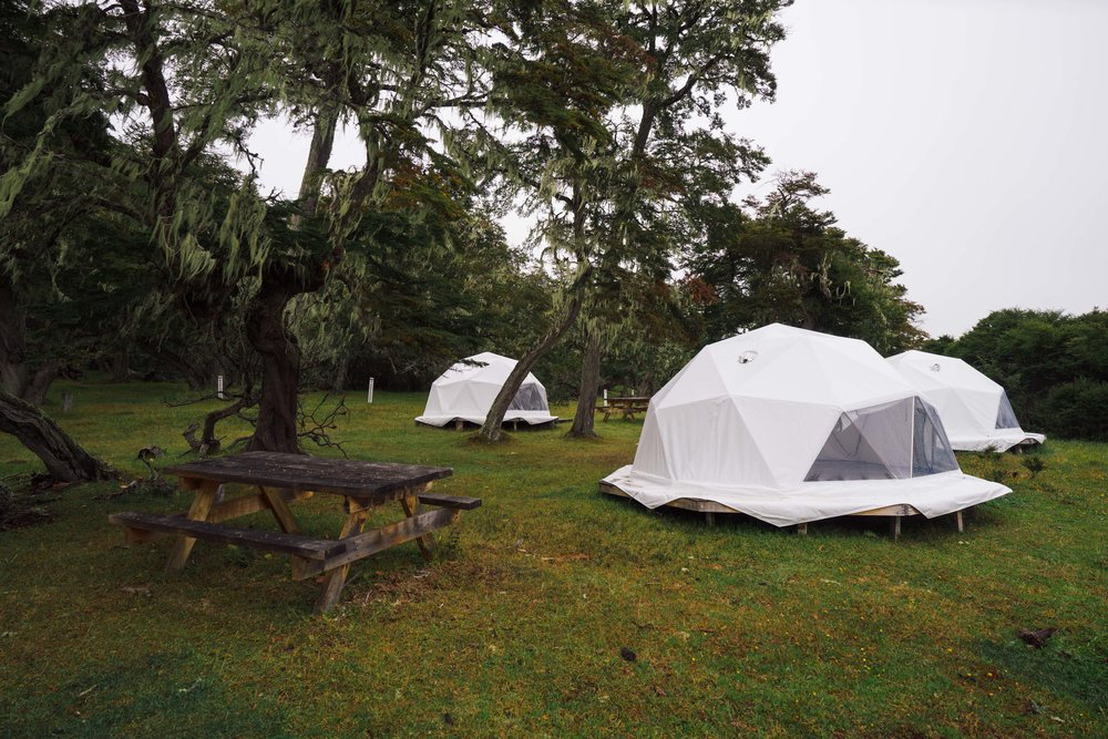 Dome tents and camping area in Vicuña, the gate to the Karukinka Park