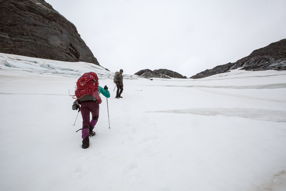 Stjepan and Andreea hiking up the Chacabuco Glacier