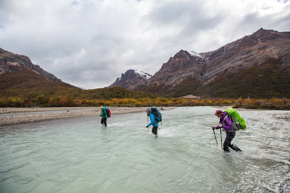 Crossing rivers in the Hermoso Valley