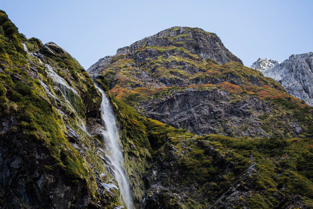 WATERFALL IN QUEULAT NATIONAL PARK - Rugged peaks, multiple waterfalls, and glaciers await those at the valley at the end of the Enchanted Forest Trail, in Queulat National Park.