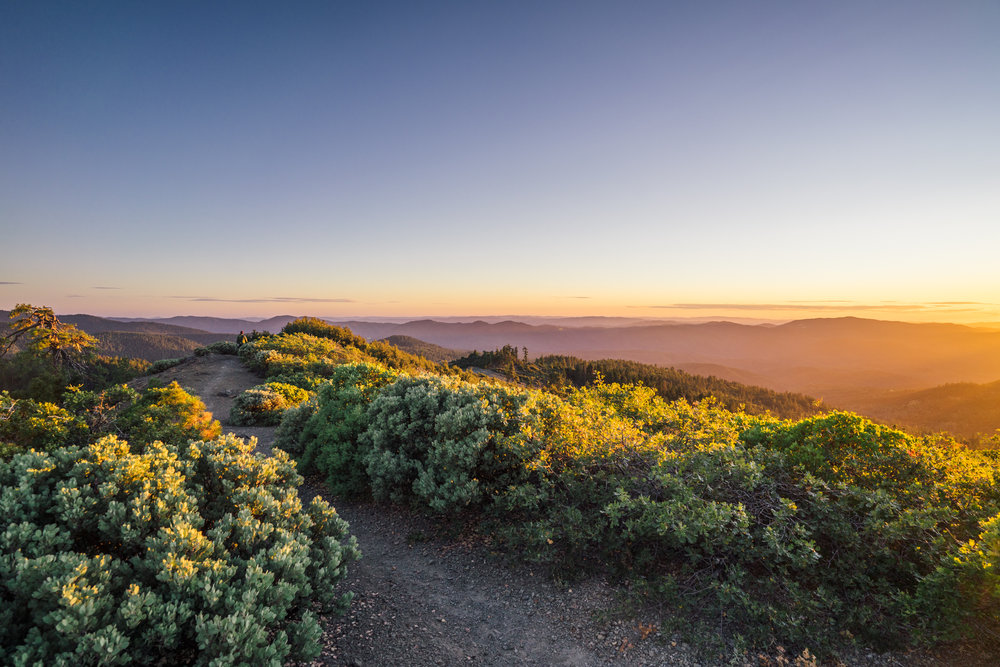 - Heading back to our campsite in the sunset light. The Snow Mountain Wilderness is part of the Mendocino National Forest and is currently also included in the boundaries of the national monument.