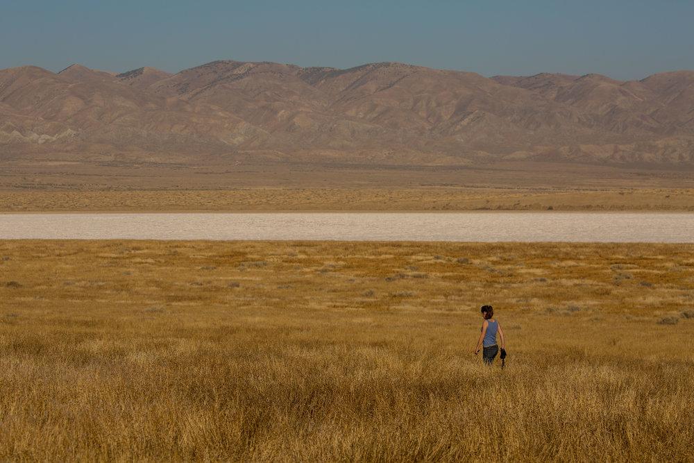 Soda Lake and the Temblor mountain range in Carrizo Plain National Monument, California