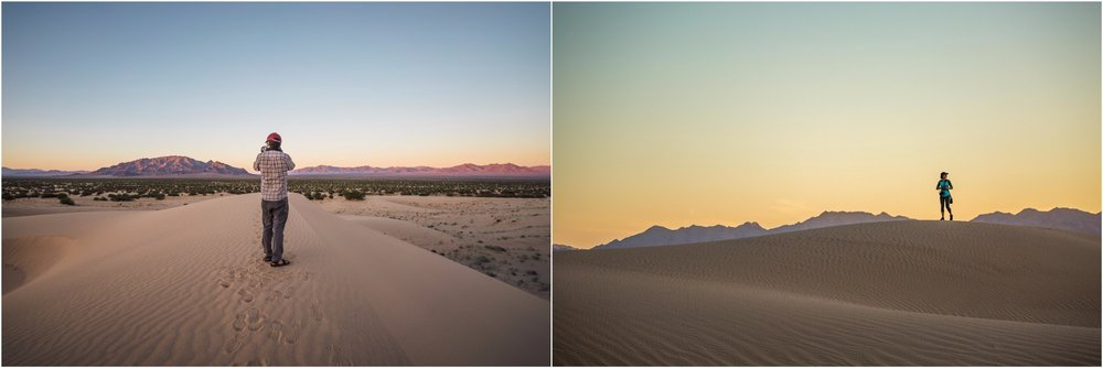 walking at sunset in the cadiz dunes wilderness within the national monument -