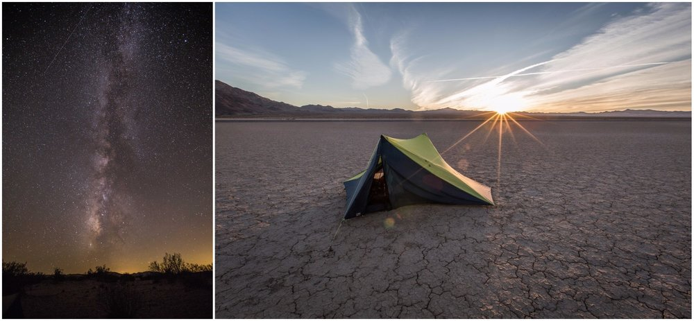 - Left: The night sky lights up with a million stars shortly after sunset. Right: The tent set up on a dry lakebed, surrounded by mountains created through intense seismic activity. It was the last night spent camping in the desert.