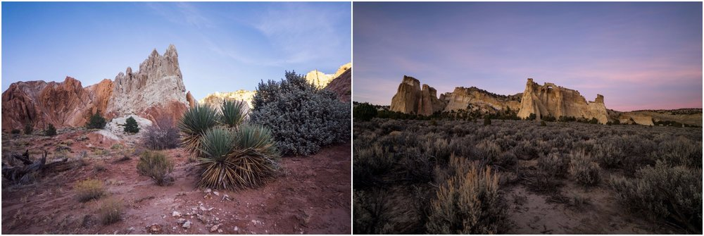 - Left: The beautiful landscape at the Cottonwood Narrows North trailhead. Right: Grosvenor Arch