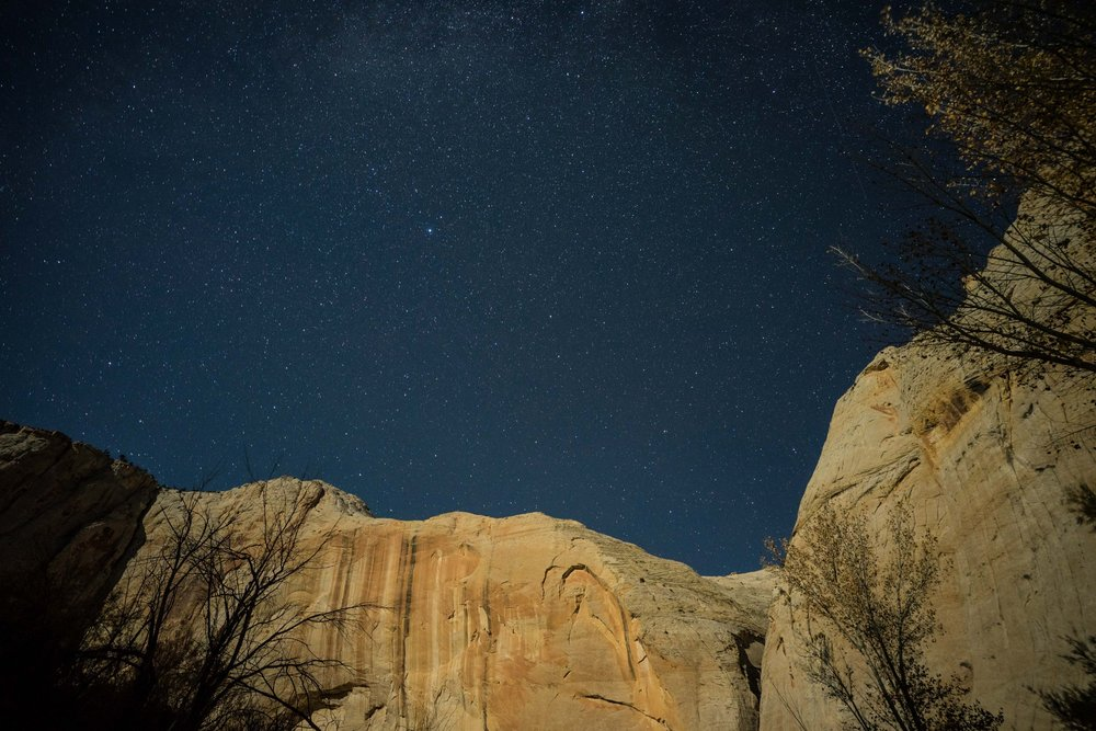 - The full moon lit up the rock walls in the Escalante River gorge.