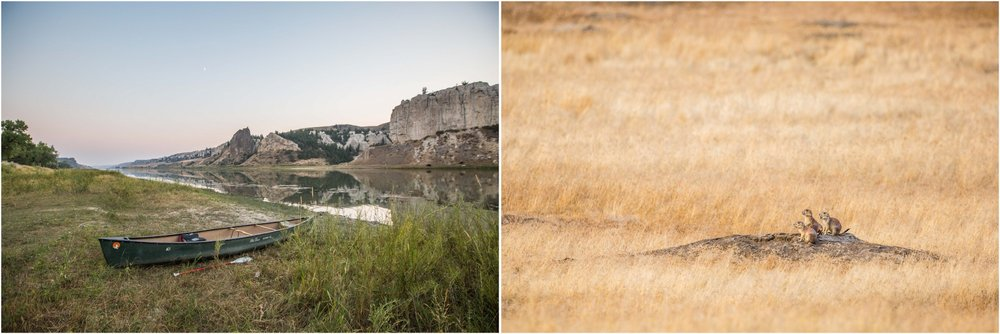 - Left: Our canoe parked for the night at the first campsite after Coal Banks Landing, in Upper Missouri River Breaks National Monument. Right: Prairie dogs at sunset behind one of the campsites.