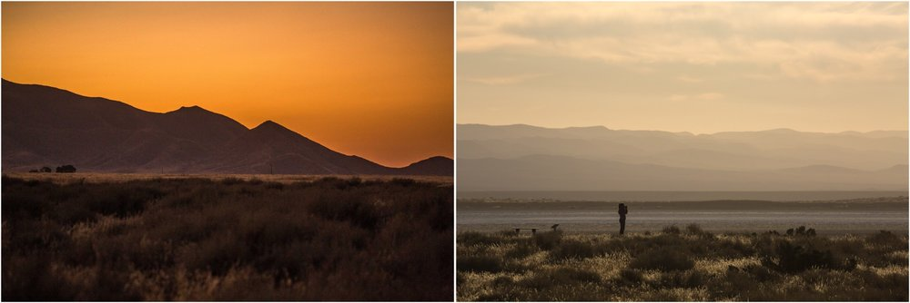 - Left: The silhouette of the Caliente Ridge at sunset in Carrizo Plain National Monument. Right: Walking along the large alkali Soda Lake, with the Temblor Mountains in the background.
