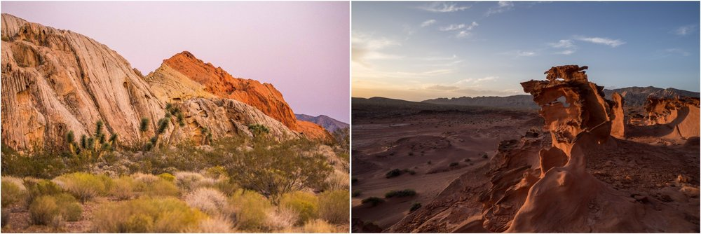 "- Left: A mix of water seeping through the sandstone and the iron deposits are what give color to these amazing formations, in Gold Butte National Monument. Left: The ""Little Finland"" area."