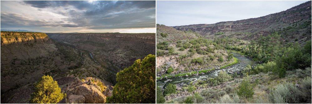 - Left: The Rio Grande and the Red River converge in Rio Grande del Norte National Monument. Both are great rivers for fly fishing. Right: There are several steep hikes that can take you down by the river, inside the deep gorge of the Rio Grande.