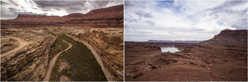 - Approaching Bears Ears from the Glen Canyon National Recreation Area, along Rte 95. Lake Powell stretches below (right photo), while the road crosses the Colorado River on the Hite Bridge and the Dirty Devil River (left photo).