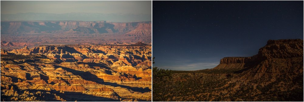 - Left: Looking at the stunning canyons that stretch into the Canyonlands National Park. Right: Nighttime along the Elk Ridge Road.