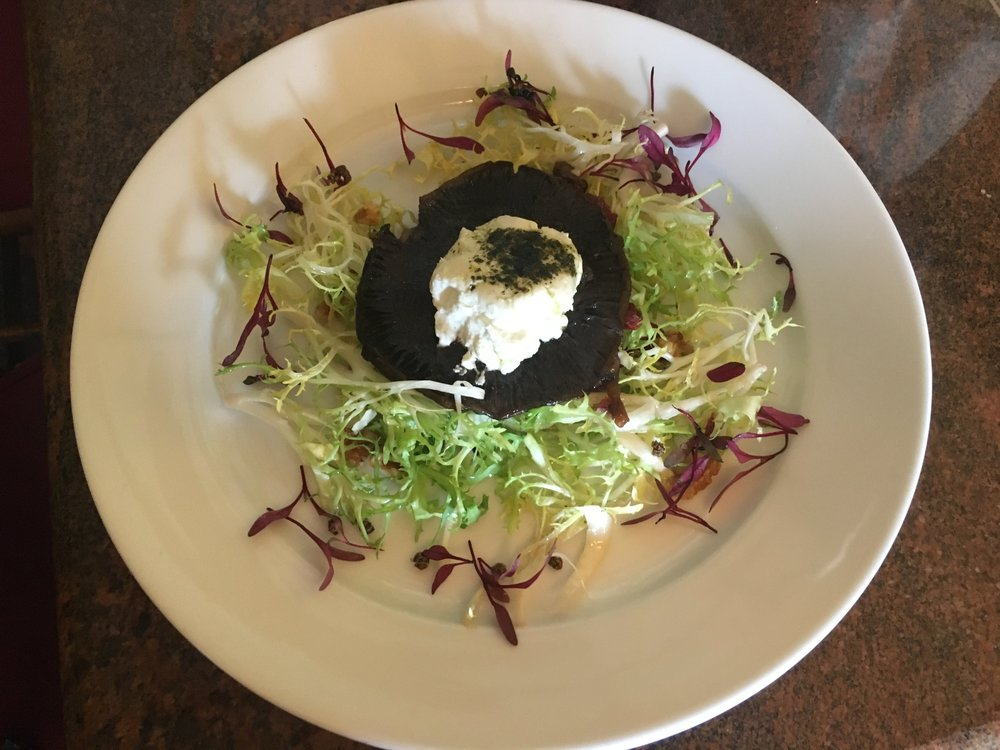 Goat and Portobello Salad Frisee with Sundried Cranberry and Basil Virgin Olive Oil