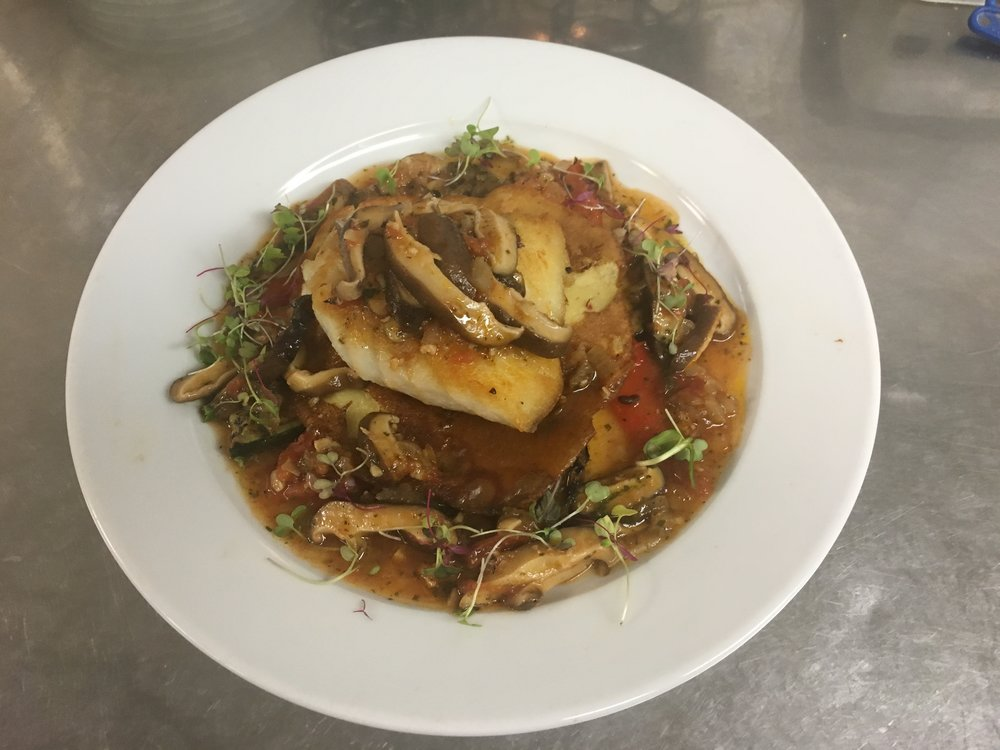 Cod fish, shiitake mushroom, Chick pea crêpe, 4 grilled vegetables