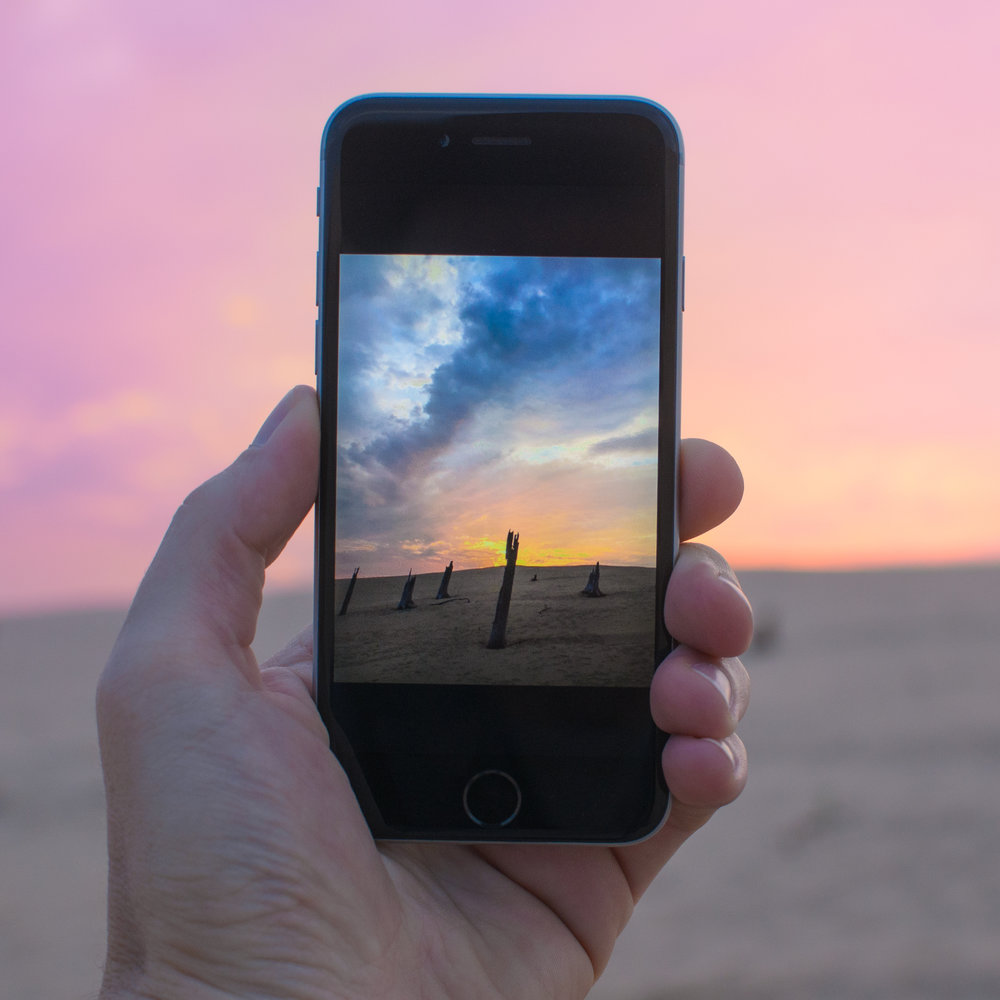 Sunset through the iPhone. Elevate your iPhone photos with one of my workshops.