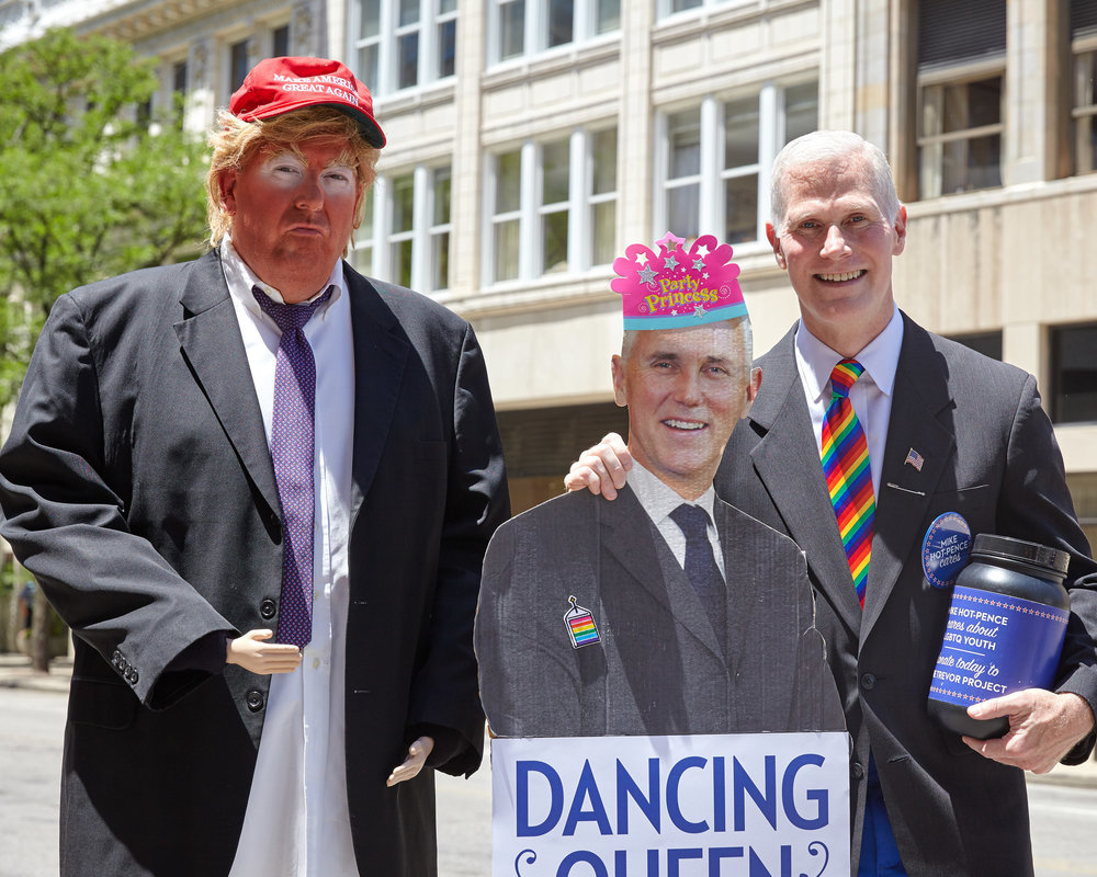 Trump and Pence look-alikes pose for photos at the Big Gay Dance Party in Columbus Ohio