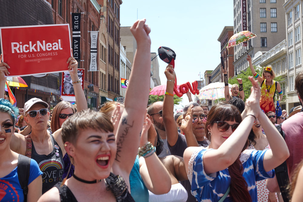 Big Gay Dance Party attendees cheer.