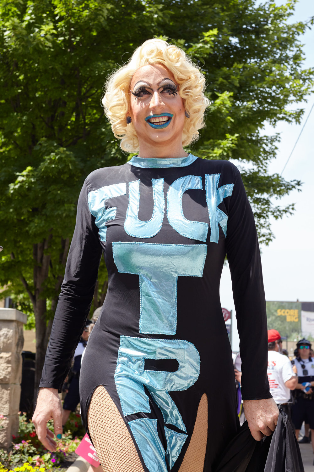 "A drag queen wears a ""Fuck Trump"" dress during the Big Gay Dance Party"