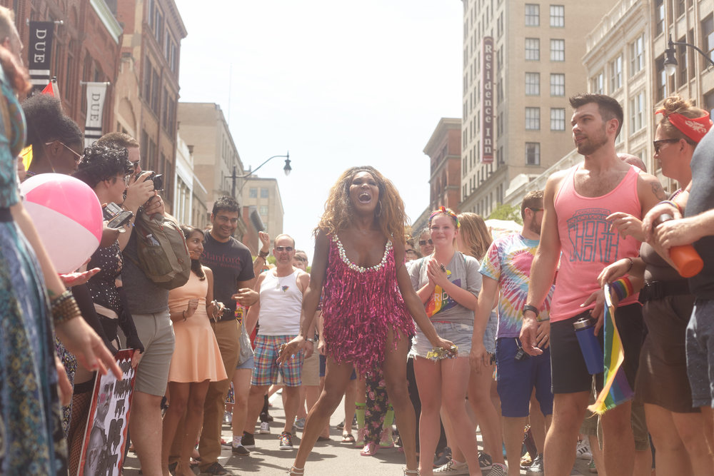 A drag queen performs during the Big Gay Dance Party