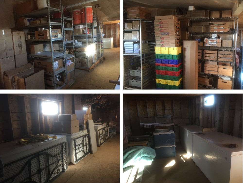 Top Left: shelves line the wall against the house. Top Right: more shelves not seen in the left photo. Bottom Left: freezers opposite the shelves line the outside wall with market tables propped against them. Bottom Right: two freezers on the east wall which can be seen in the top left photo.
