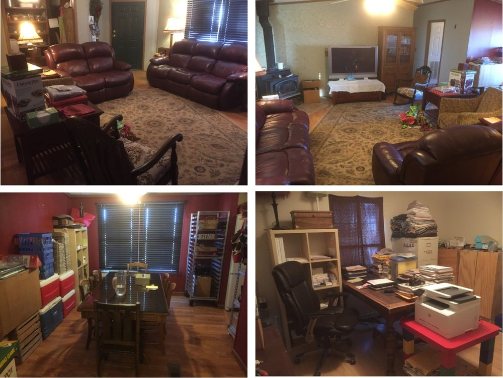 Top Left: living room from the hall toward the front door. Top Right: living room from the front door toward the hall, Christmas wrapping on the floor , and the wood stove no longer being blocked. Bottom Left: dining room table surrounded by business. Bottom Right: office in the spare bedroom, yet to be organized.