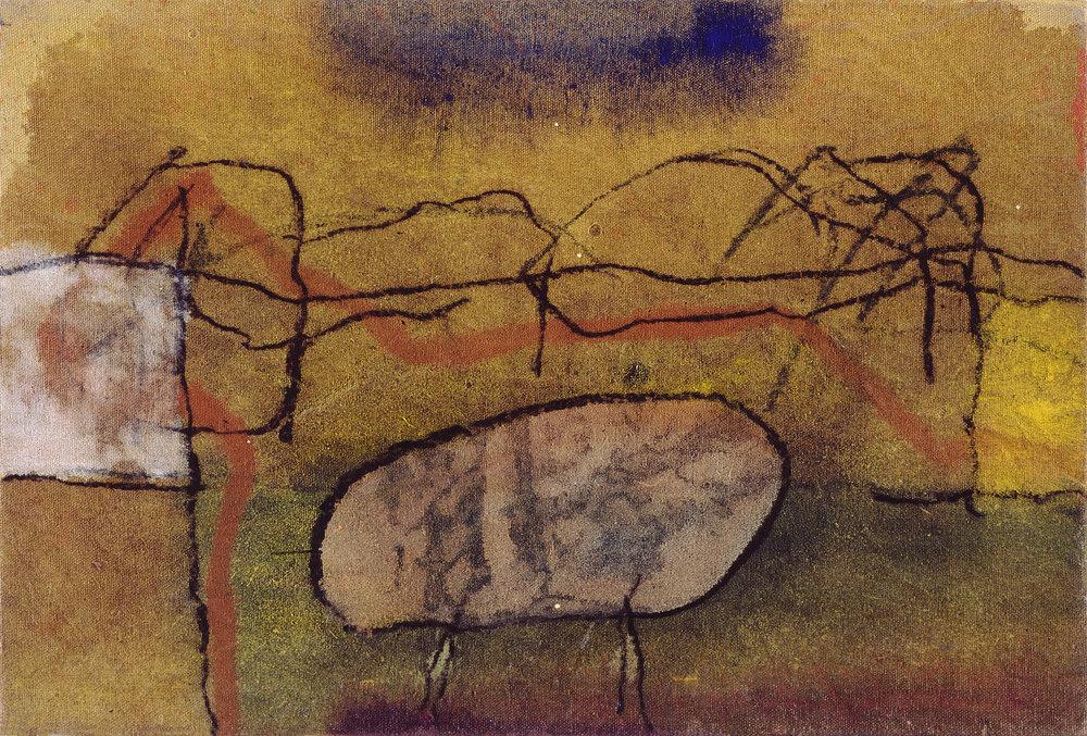 Sense títol  , oli i carbósobre tela, 1988, 22 x 35 centímetres