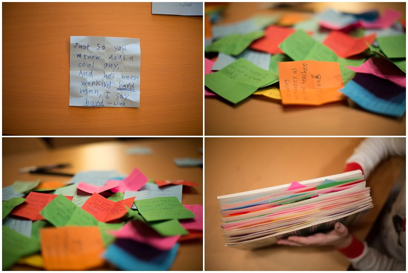 Family writes notes of gratitude throughout the year and share in the first week of the new year.